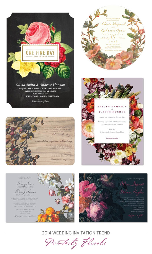 2014 Wedding Invitation Trend : Romantic, Painterly Florals