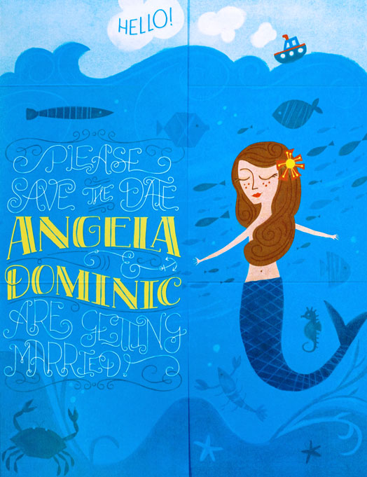 Angela + Dominic's Nautical Mermaid-Themed Wedding Stationery | Design : Angela Navarra & Printing : Rolling Press