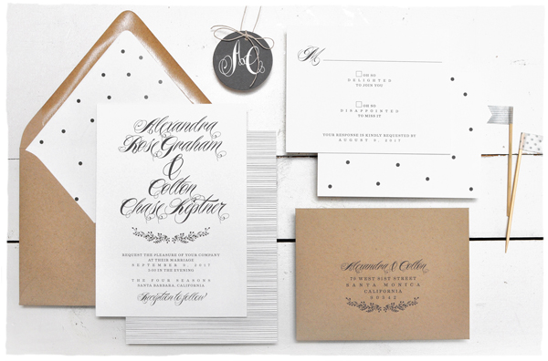 Elegant Black + White Woodland Wreath Wedding Invitations | Smitten on Paper