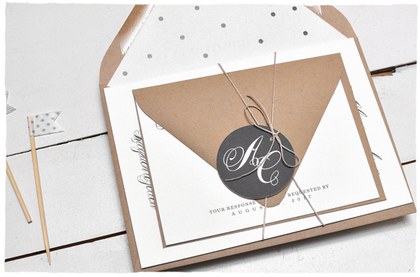 Monogram Tag + Dotted Envelope Liner | Smitten on Paper