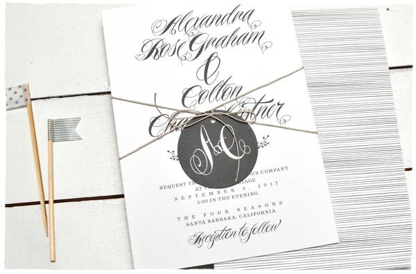 Monogram Tag + Calligraphy Wedding Invitation | Smitten on Paper