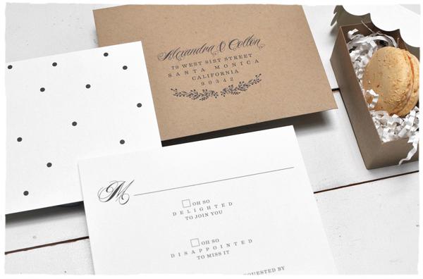 Black + White Reply Card + Kraft Envelope | Smitten on Paper