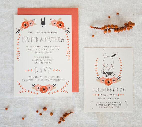 Bunny & Blooms Baby Shower Invitations | Kelli Murray