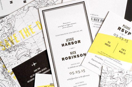 Gazette Destination Wedding Invitations | Hello Tenfold
