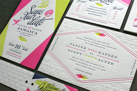 Janine + Scott's Geometric Jamaica Wedding Invitations | Scott Peiffer (Design) + Studio on Fire (Printing)