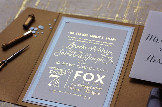 Fox Theatre Detroit Wedding Invitations | Paisley Quill
