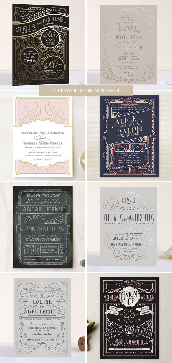 Minted 2014 Wedding Invitations : Art Deco-ish as seen on invitationcrush.com