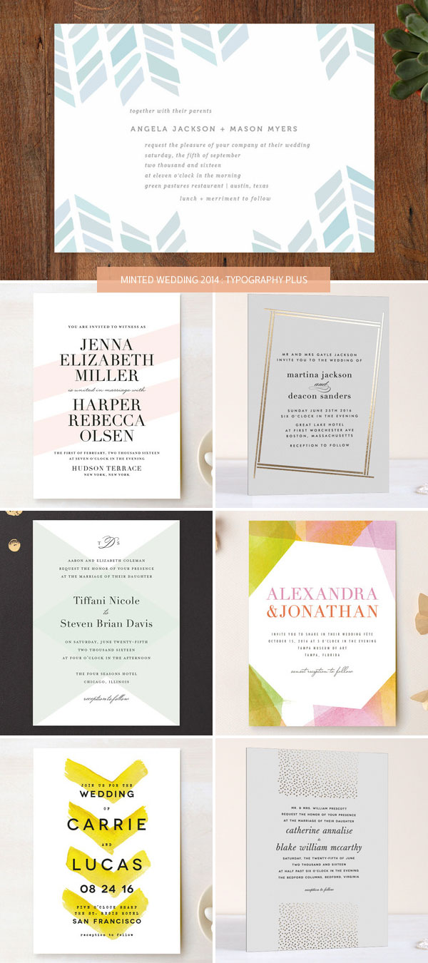Minted 2014 Wedding Invitations : Typography Plus as seen on invitationcrush.com