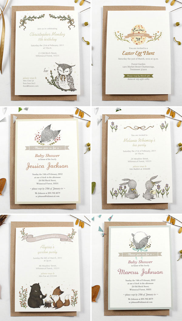 Cute, Illustrated Personalized Invitations | Whimsy Whimsical
