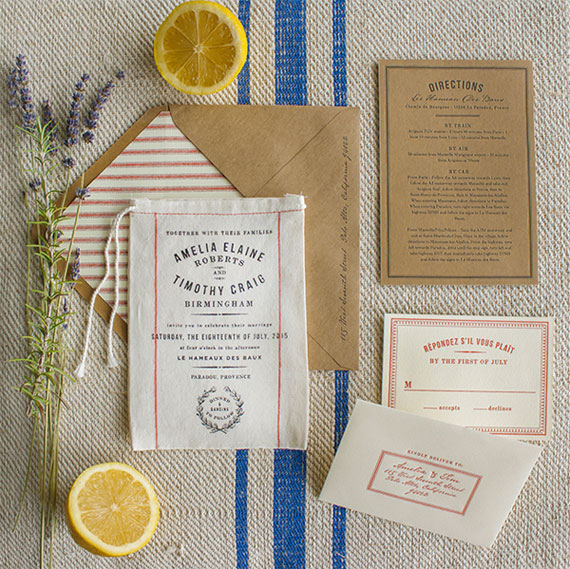 Miniature Grain Sack Market Wedding Invitations | Lucky Luxe