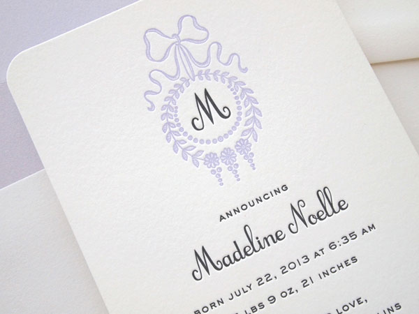Heirloom Monogram Birth Announcement | Missive