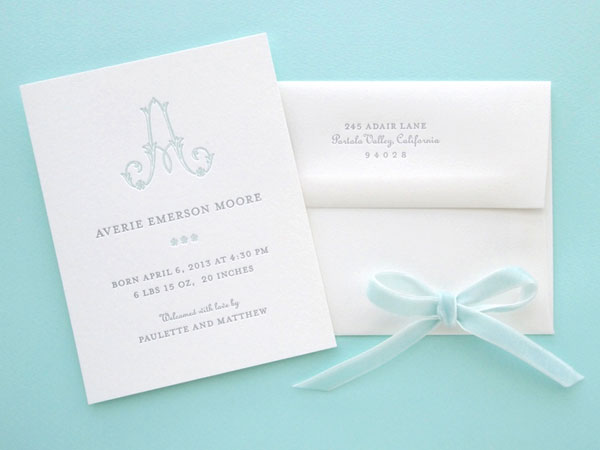 Fleur Monogram Birth Announcements | Missive
