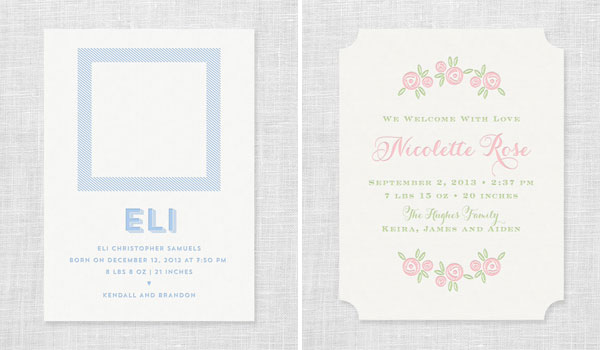 Modern Letterpress Birth Annoncements | Missive