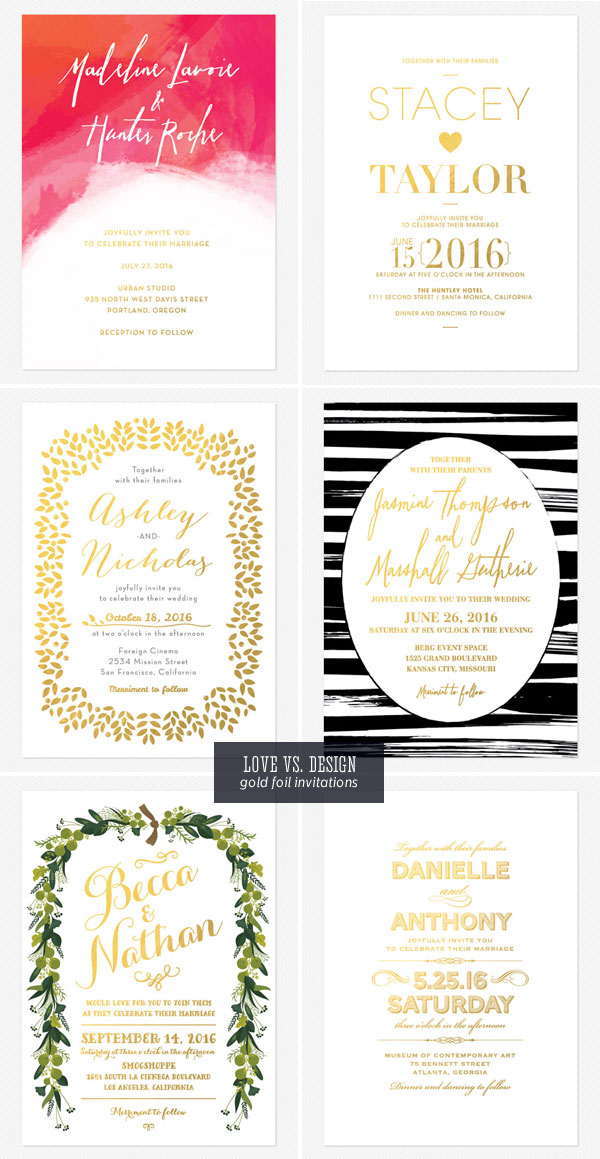 Gold Foil Stamped Wedding Invitations | Love vs. Design