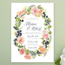 Watercolor Wreath Wedding Invitatons | Yao Cheng