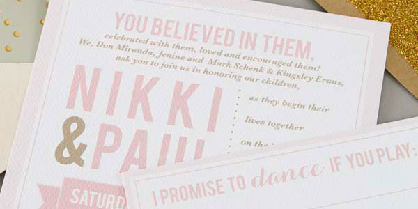Nikki and Paul's Modern Blush Pink + Gold Wedding Invitations