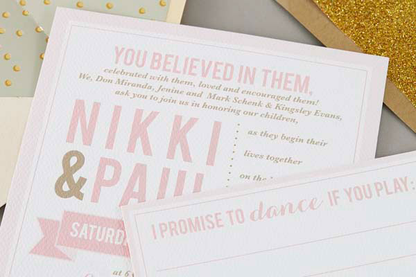 Modern Pink + Gold Wedding Invitations | Sugar & Type