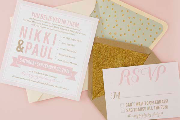 Blush Pink & Gold Wedding Stationery | Sugar and Type