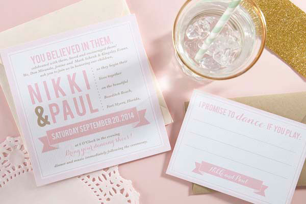 Modern Typography Wedding Invitations | Sugar and Type