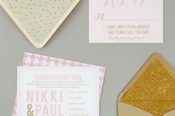Gold Glitter Envelope Liners | Sugar and Type