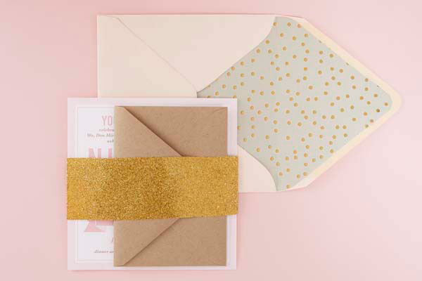 Gold Glitter Belly Band + Patterned Envelope Liner | Sugar and Type