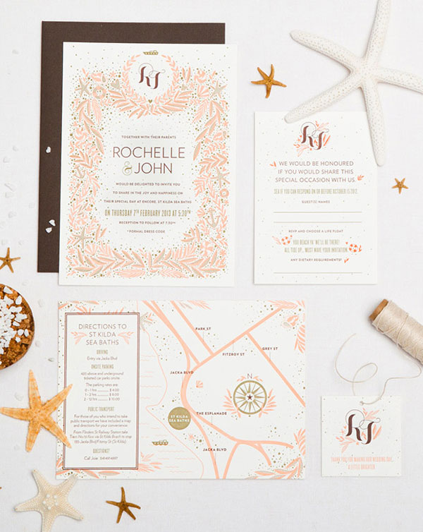 Exotic, Bohemian Letterpress Wedding Invitations | One Plus One