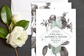 Black & White Floral Wedding Invitations