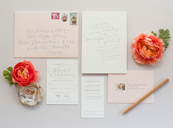 Romantic Blush & Grey Wedding Invitations by Coral Pheasant