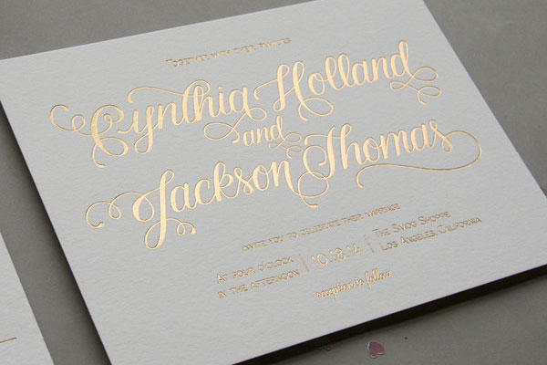 Gold Foil Aubergine Wedding Invitations by Steel Petal Press, with calligraphy from Jenna Blazevich