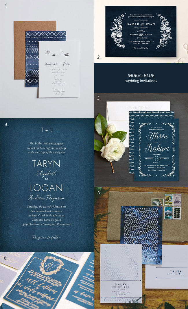 Indigo Blue Wedding Invitation Ideas - Invitation Crush