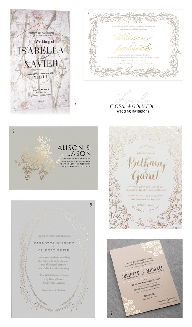 Floral and Gold Foil Wedding Invitation Ideas