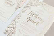 Floral and Gold Foil Wedding Invitations