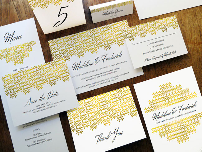 Printable Glamorous Gold Wedding Invitations | e.m. Papers