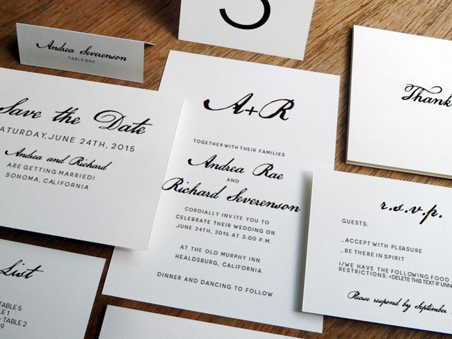Printable Calligraphy Monogram Wedding Invitations | e.m. Papers