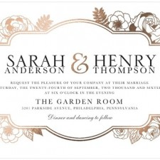Foil Stamped Floral Wedding Invitations by Magnolia Press