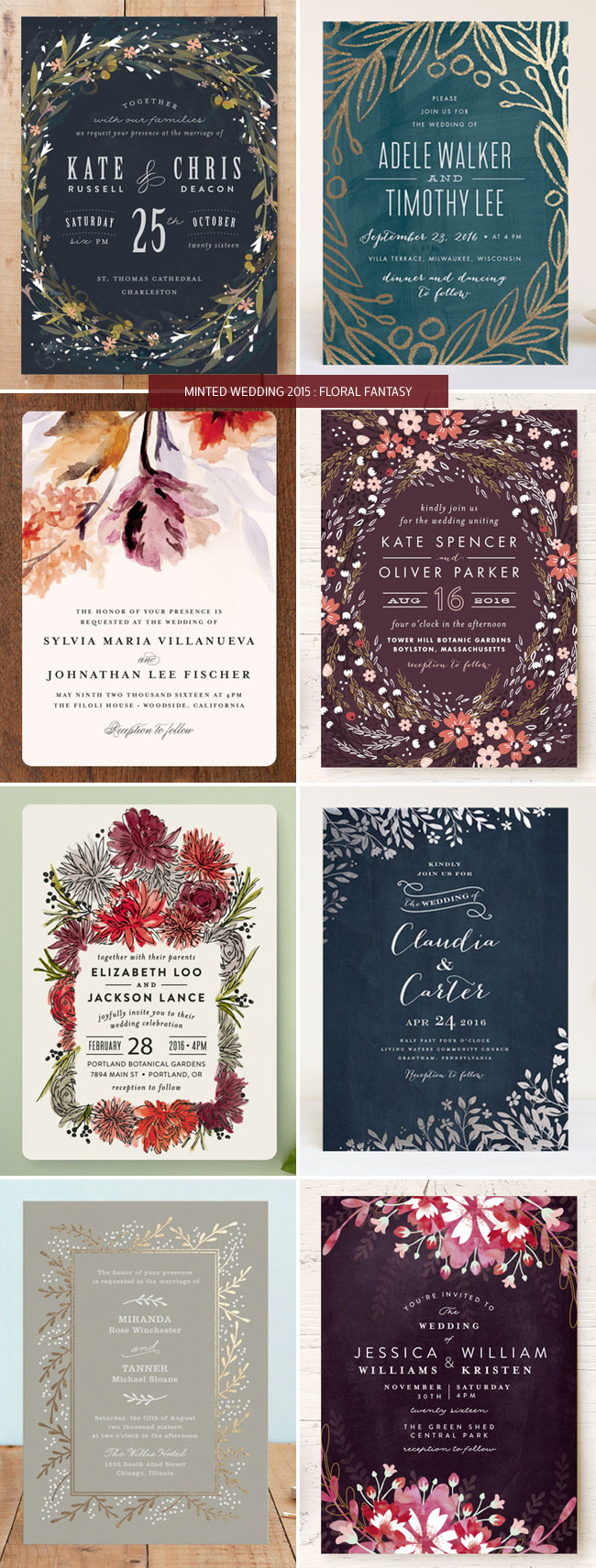Floral Wedding Invitations from Minted
