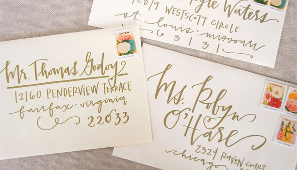 Wedding Envelope Calligraphy by Lettered Life