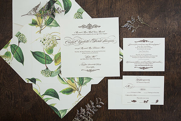 Elegant Botanical Invitations for a Hawaiian Wedding | Jen Simpson Design (photo credit: Ashley Bee Photography)