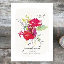 Painterly Floral Save the Date Cards by Lori Wemple