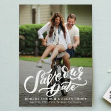 Hand Lettered Save the Date Cards by Wildfield Paper Co.