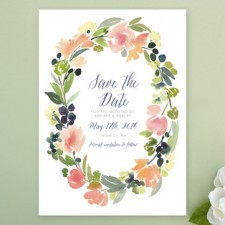 Watercolor Wreath Save the Date Cards by Yao Cheng