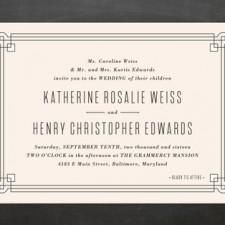 Classic Geometric Border Wedding Invitations by Hooray Creative