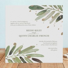 Painterly Botanical Foil Wedding Invitations by Haley Warner
