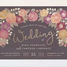Autumn Florals Foil Wedding Invitations by Hooray Creative