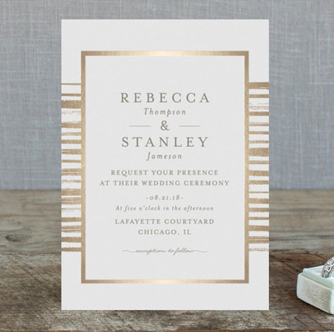 chicago invitations stripe foil wedding invitations by chocomocacino