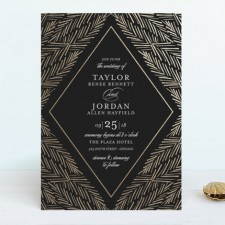 Feather Foliage Foil Wedding Invitations by Blackberry Graphics