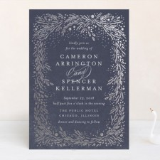 Foliage Silver Foil Wedding Invitations by Kristie Kern