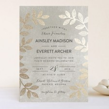 Folk Leaves Foil Wedding Invitations by Pandercraft