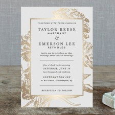 Gilded Floral Foil Wedding Invitations by Christie Kelly