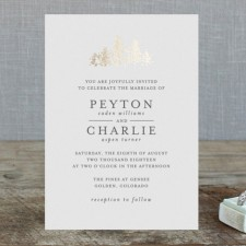 Golden Pines Foil Wedding Invitations by Bethan